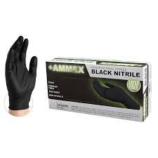 Black Nitrile Latex Free Gloves (Medium 100)